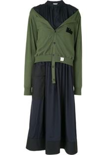 Re Code Vestido Midi Com Sobreposição - Verde