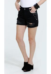 Short Feminino Sarja Tachas Destroyed Marisa