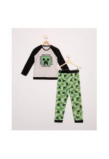 Pijama Infantil De Fleece Minecraft Manga Longa Multicor