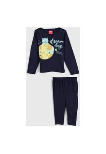 Pijama Tricae Longo Infantil Lua Azul-Marinho