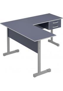 Mesa Em L Para Escritório 2 Gavetas 143Cmx136Cm Pop Plata Móveis Azul/Cinza