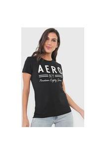 Camiseta Aeropostale Bordada Preta