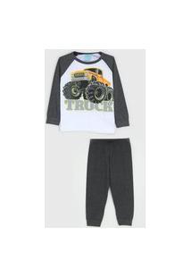 Pijama Kyly Longo Infantil Monster Truck Branco/Cinza