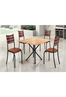Conjunto De Mesa De Jantar Lizzi Com 4 Cadeiras Estofadas Madeira E Marrom