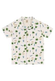 Camisa Infantil Masculina Tropical Trick Nick Bege