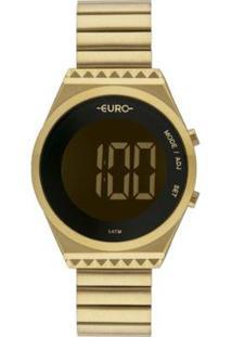 Relógio Euro Digital Caixa Slim Feminino - Feminino-Dourado