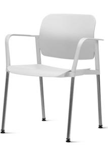 Cadeira Leaf Com Bracos Assento Branco Base Cromada - 54264 Sun House