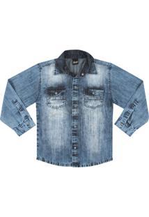 Camisa Look Jeans Manga Longa Jeans - Azul - Menino - Algodã£O - Dafiti