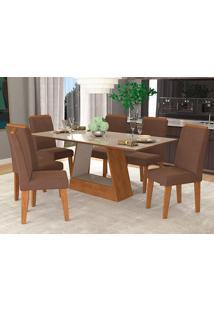 Conjunto De Mesa Com 6 Cadeiras Para Sala De Jantar 180X90 Alana/Milena-Cimol - Savana / Off White / Chocolate