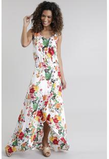 Vestido Longo Estampado Floral Branco