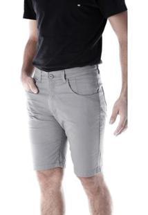 Bermuda Sarja 5 Bolsos Slim Com Elastano Traymon Masculina - Masculino-Cinza
