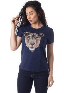 Camiseta Familia Leoa Thiago Brado 6027000001 Marinho - Marinho - Pp - Feminino