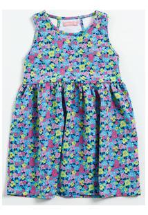 Vestido Infantil Estampa Flores Vazado Marisa