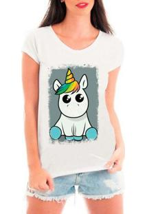 Camiseta Bata Criativa Urbana Unicórnio Fofinho Olhos Brilhando - Feminino-Branco
