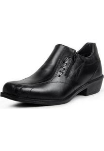 Sapato Social Masculino Liso Conforto Zíper Clássico - Masculino-Preto