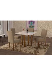Conjunto De Mesa De Jantar Com 4 Cadeiras E Tampo De Madeira Maciça Valencia Suede Marrom Médio E Off White