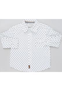 Camisa Infantil Estampada De Raios Manga Longa Branca