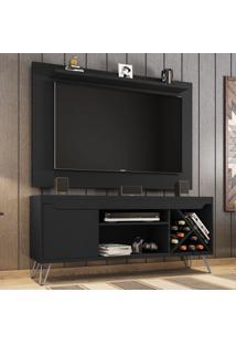 Rack Com Painel Para Tv Até 50 Polegadas Kenzo Preto Fosco - Móveis Bechara