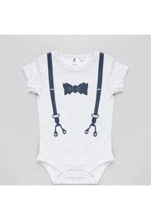 Body Infantil Mescla Com Estampa De Suspensório Manga Curta Gola Careca Off White