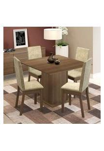 Conjunto Sala De Jantar Maggie Madesa Mesa Tampo De Madeira Com 4 Cadeiras Rustic/Imperial