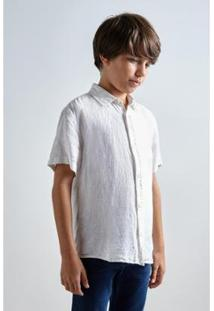Camisa Mini Pf Mc Linho Verao Reserva Mini Masculina - Masculino-Branco