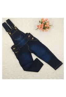 Jardineira Jeans Criança Menina Tamanhos 1 A 4 Anos Azul
