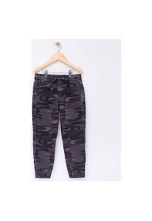 Calça Infantil Camuflada Em Sarja - Tam 5 A 14 | Fuzarka (5 A 14 Anos) | Preto | 9-10