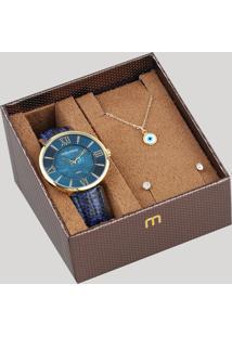 Kit De Relógio Analógico Mondaine Feminino + Brinco + Colar - 53713Lpmvdh1K Azul - Único