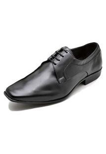 Sapato Social Fepo Store Couro Liso Bico Quadrado Com Cadarço Preto