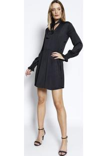 Vestido Acetinado Com Amarração- Preto- Colccicolcci
