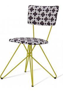 Cadeira Pop Estampa Rolls Preto Base Estrela Amarela - 49564 - Sun House