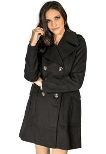 Casaco. Coat Colcci - Feminino-Preto