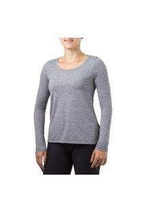Camiseta Ozone Com Proteçáo Solar Manga Longa Feminina Solo Mescla Cinza