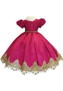 Vestido Liminha Doce De Luxo Pink Com Dourado - Infantil