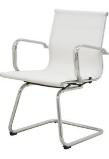 Cadeira Sevilha Eames Fixa Cromada Tela Branca - 38068 Sun House