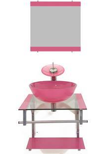 Gabinete De Vidro 45Cm Para Banheiro Polônia Rosa Ekasa