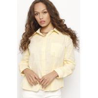 770e5a1059 Camisa Texturizada Com Bolso- Amarela- Folhafolha