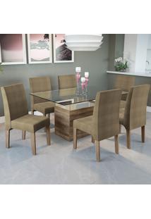Mesa Jantar Com 6 Cadeiras Csj030No Suede Animale – Kappesberg - Capuccino
