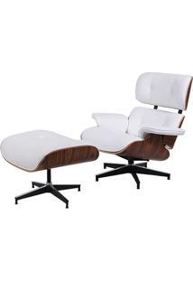 Poltrona Charles Eames Com Puff- Branca & Marrom Escuro