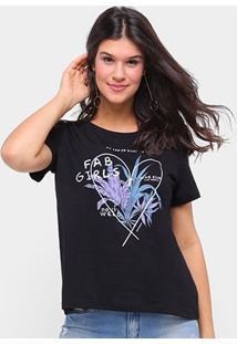 Camiseta Sommer Básica Fab Girls Feminina - Feminino-Preto