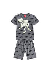 Pijama Infantil Menino Camiseta + Bermuda Kyly Mescla