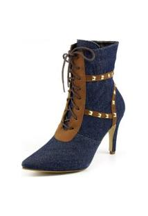 Bota Flor Da Pele Jeans Com Spike Azul