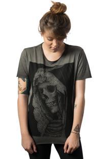 Camiseta Skull Lab Caveira Corte A Fio Cinza - Cinza - Feminino - Algodã£O - Dafiti