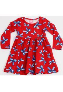 Vestido Infantil Estampa Laços Manga Longa