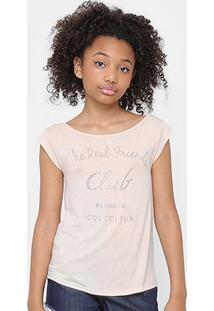 Camiseta Infantil Colcci Fun Aplicação Feminina - Feminino-Rosa Claro