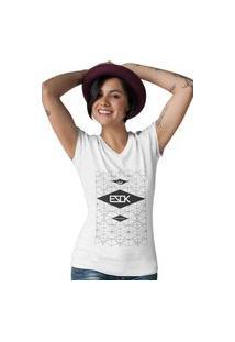 Camiseta Feminina Gola V Ezok Skate Lane Branco