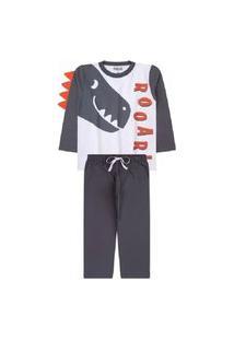 Pijama Juvenil Menino Branco Dinossauro