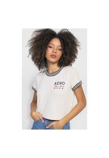 Camiseta Aeropostale Frisos Off-White