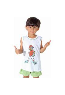 Pijama Linha Noite Regata 039 Verde Com Branco