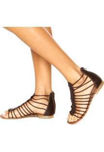 Rasteira Dafiti Shoes Gladiadora Tiras Marrom